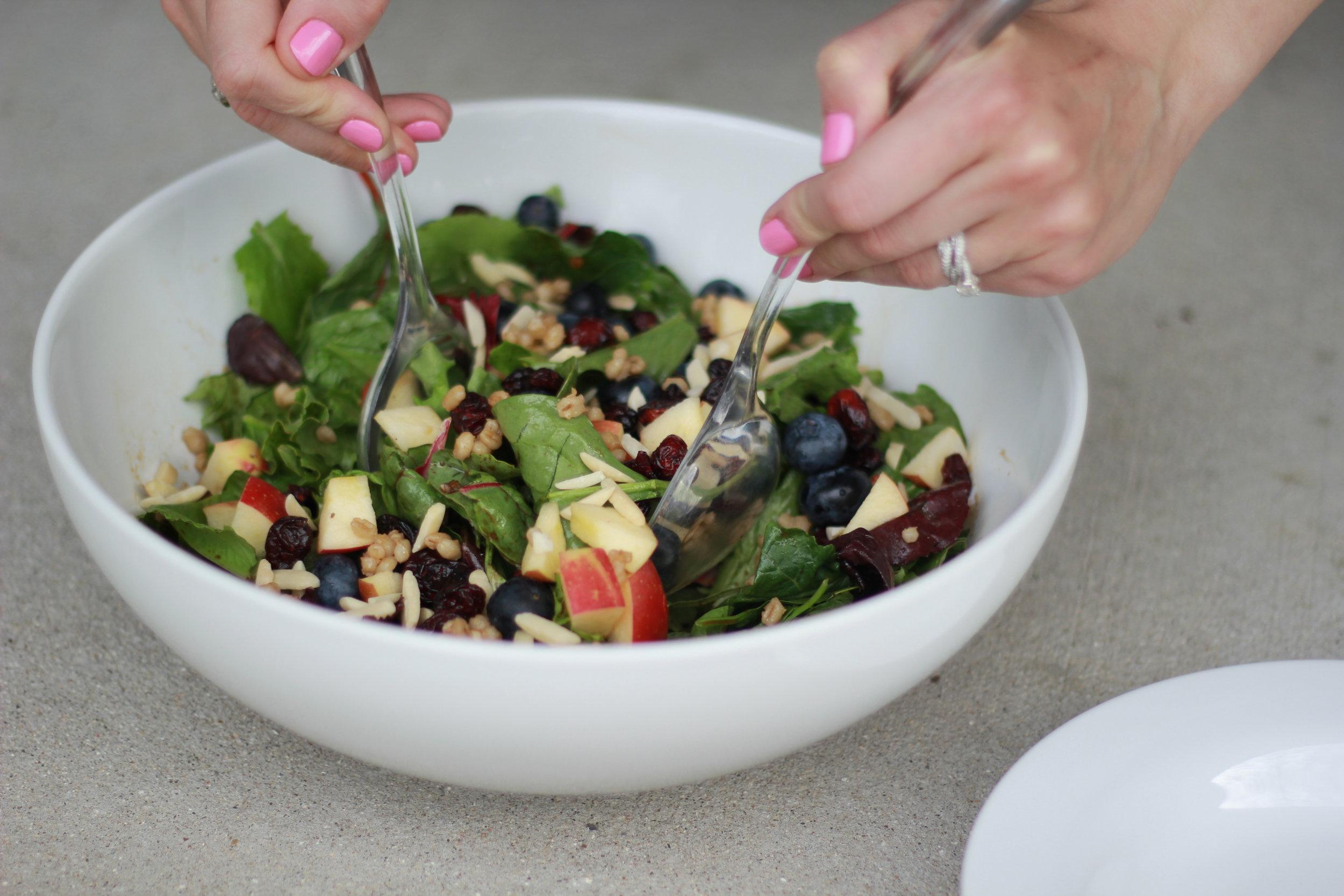 Serving Jeweled Barley Salad | Wholesome LLC