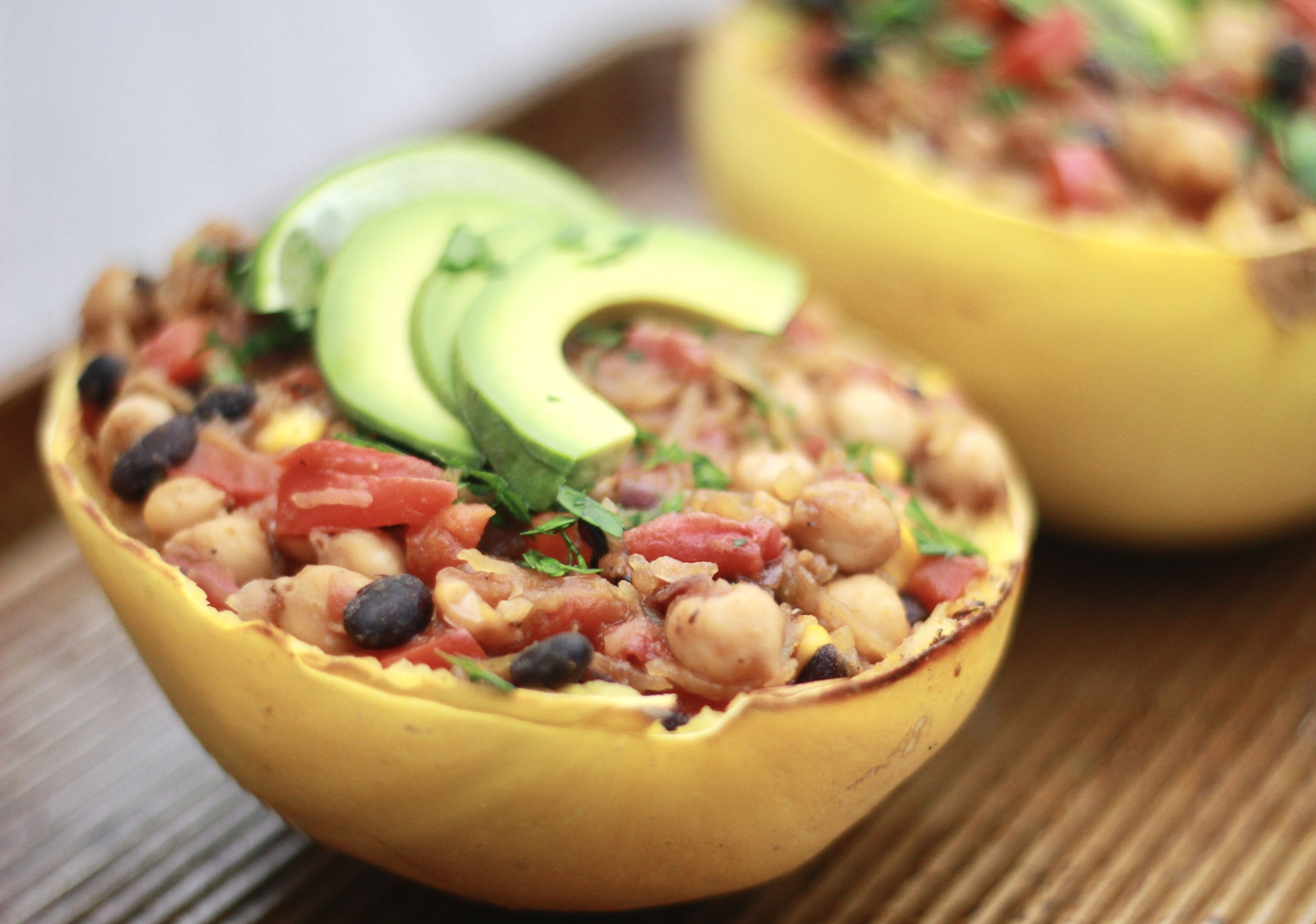 Easy Mexican Spaghetti Squash Boats - These boats are a delicious way to incorporate cancer-fighting winter squash!