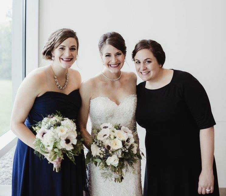 The three of us (or 4 since Alison was 37 weeks pregnant 💕) at Lauren's wedding in 2016.