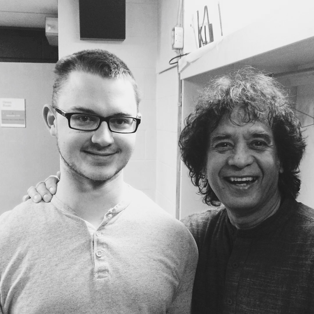 Nate Hooks with Zakir Hussain at Banff, Canada.  August, 2015