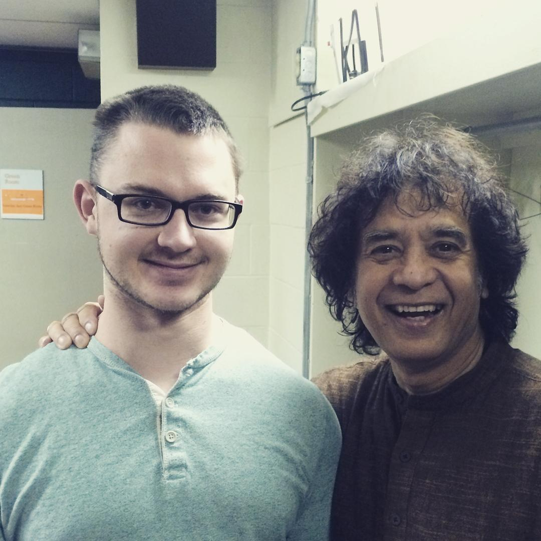 Zakir Hussain and Nate Hook backstage before the end of week concert at Banff
