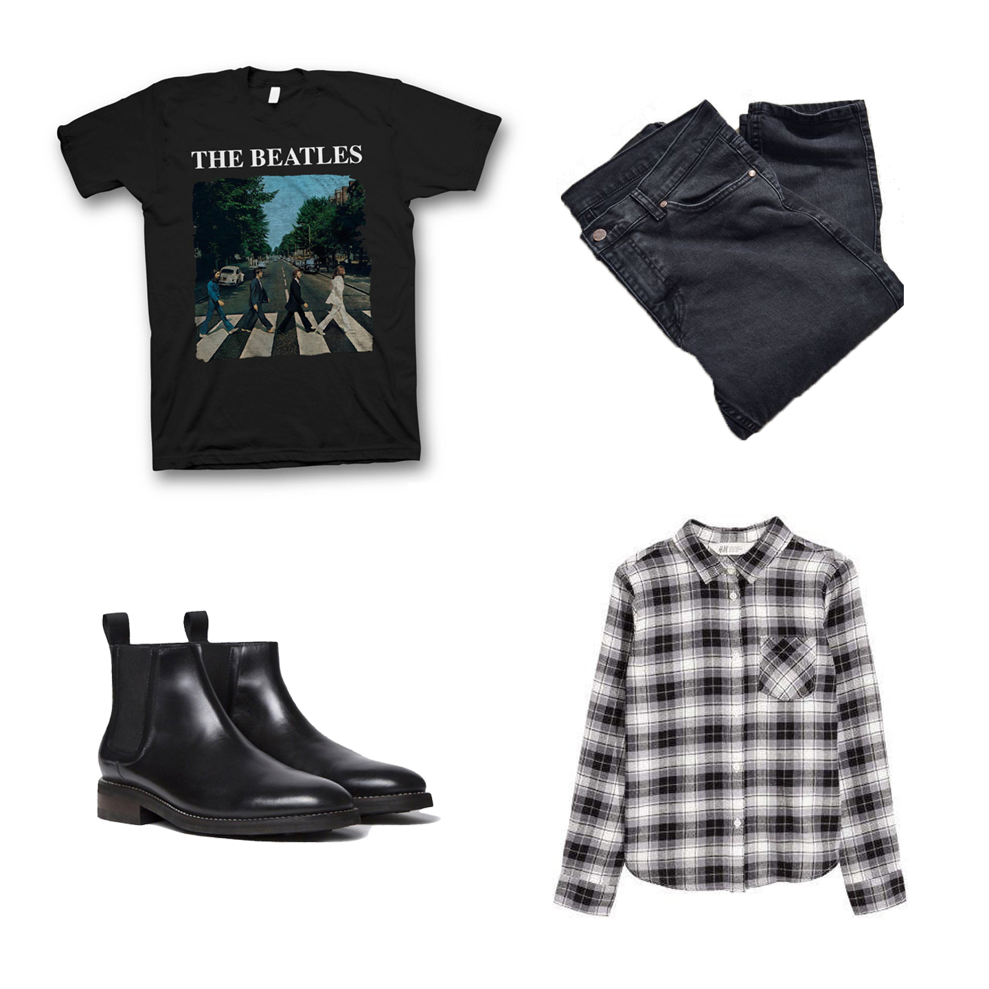H&M Generous Fit  Flannel  $14, Thursday Boot Co.  Duke Boots  $199 , Dr. Denim Clark Vintage Black  Slim Jean  $85