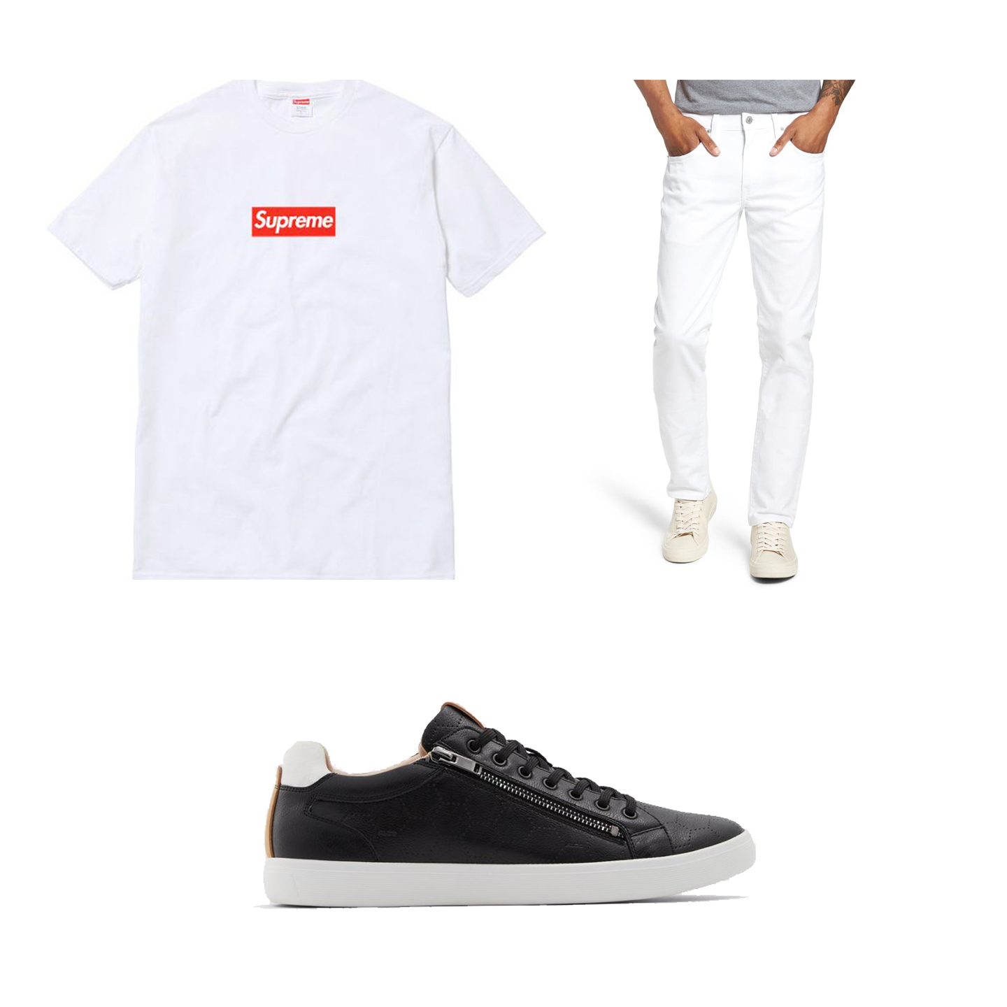 Supreme  Box Logo T-Shirt $50, Aldo  Zaywia  Shoes $80,  Levis 511  Slim Fit Jeans $79