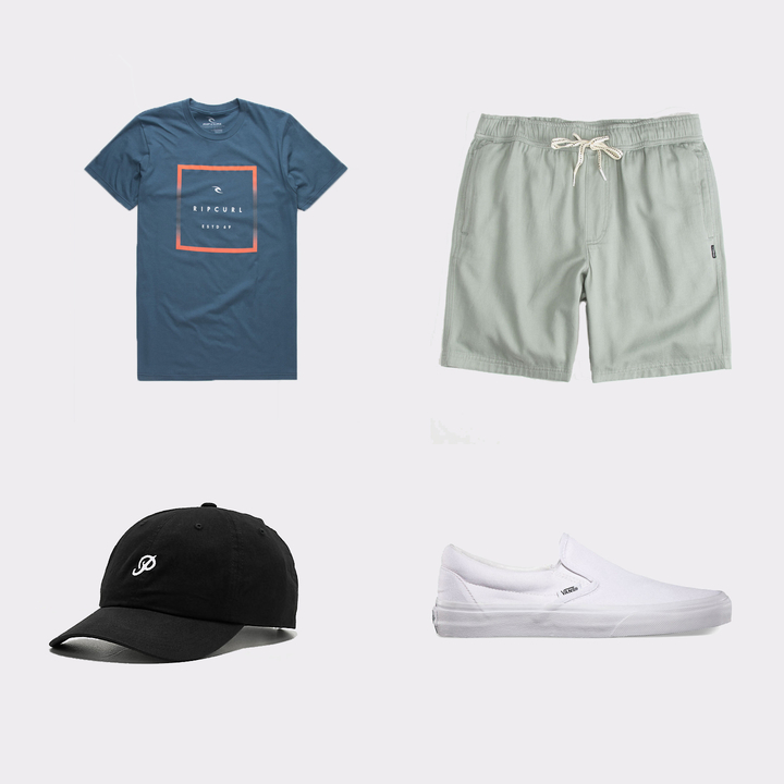 RIP CURL  Clearwater Mens T-Shirt $17,  Primitive  Dad Hat $27,  O'NEILL  Willow Granite Mens Shorts $39 ,  Vans  Slip-On $50