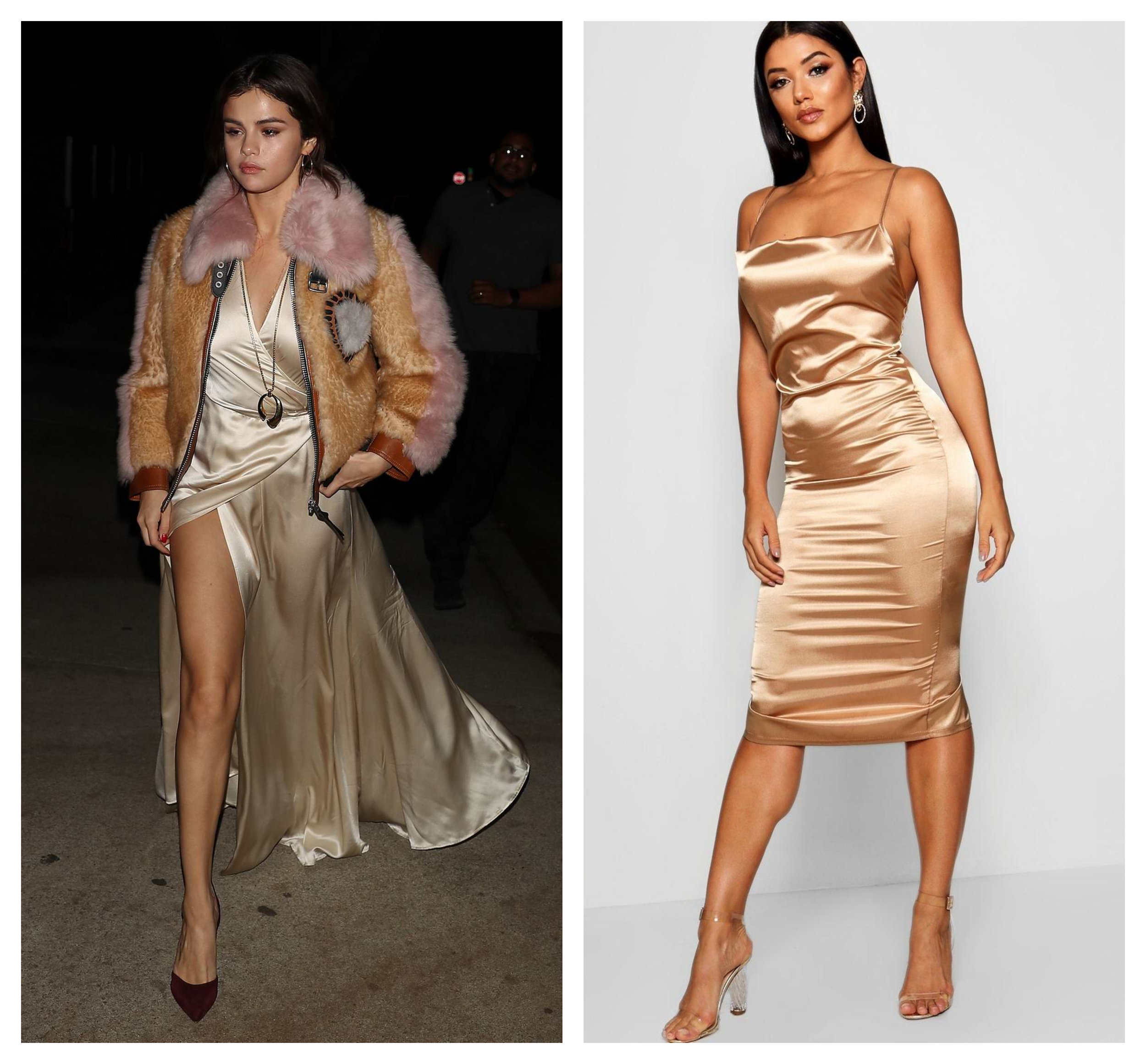 Selena Gomez in Coach, Boohoo Cowl Front Satin Midi Dress