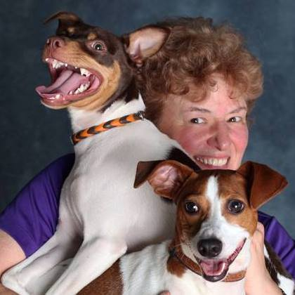 Deb with her Rat Terriers, Ferris (left) and Remus (right)