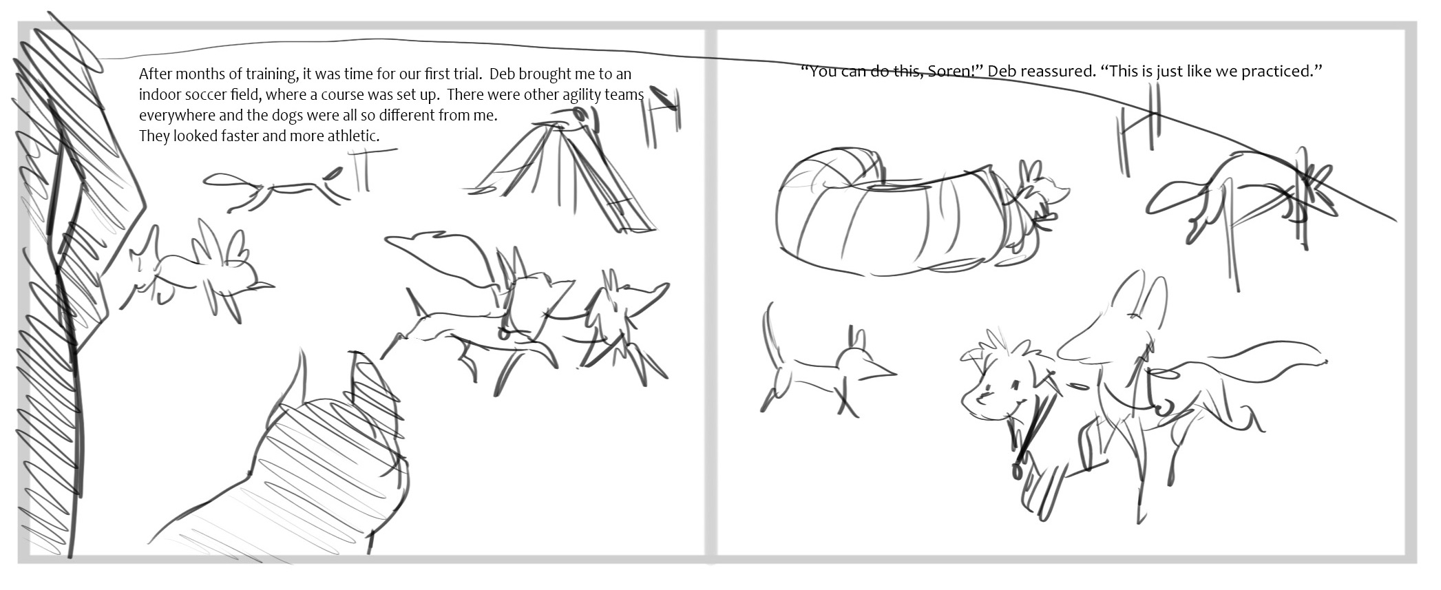 This sample page from the dummy book for Soaring Soren, shows how the illustrator develops the concept of the art that goes with text from the manuscript.