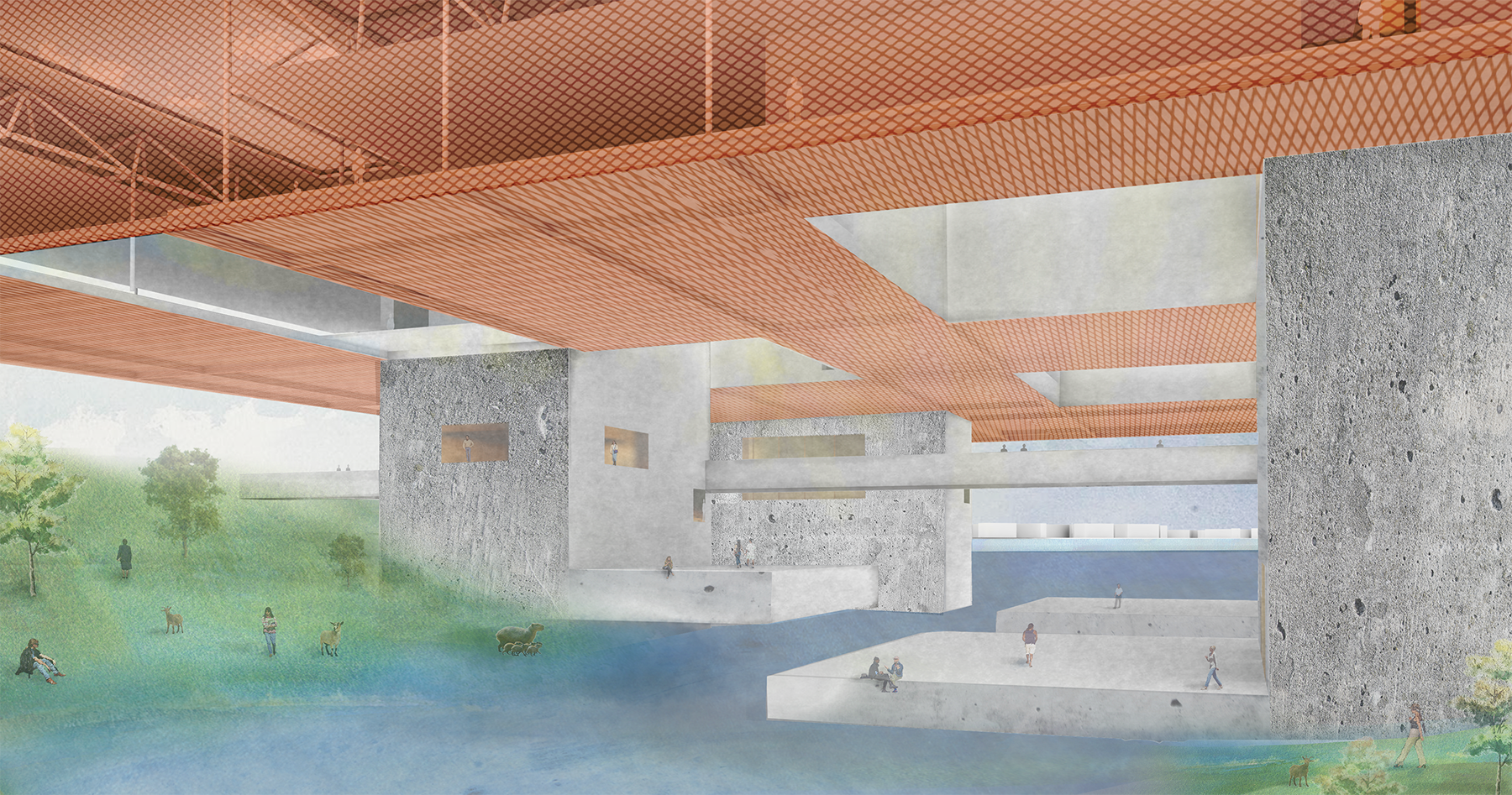 CHANGE MADE VISIBLE   While functioning in the urban context as a bridge between the two sides of the river the building is also is a means to engage the wetland habitat at the South side of the Island. The spaces carved into the Science Platform's building cores provides both permanent and temporal access to the river with submersible terraces located in the restorative wetland habitat. Researchers and the public can access and use the wetland and terraces for exhibits, experiments, and demonstrations while making the changes in the river water level visible.