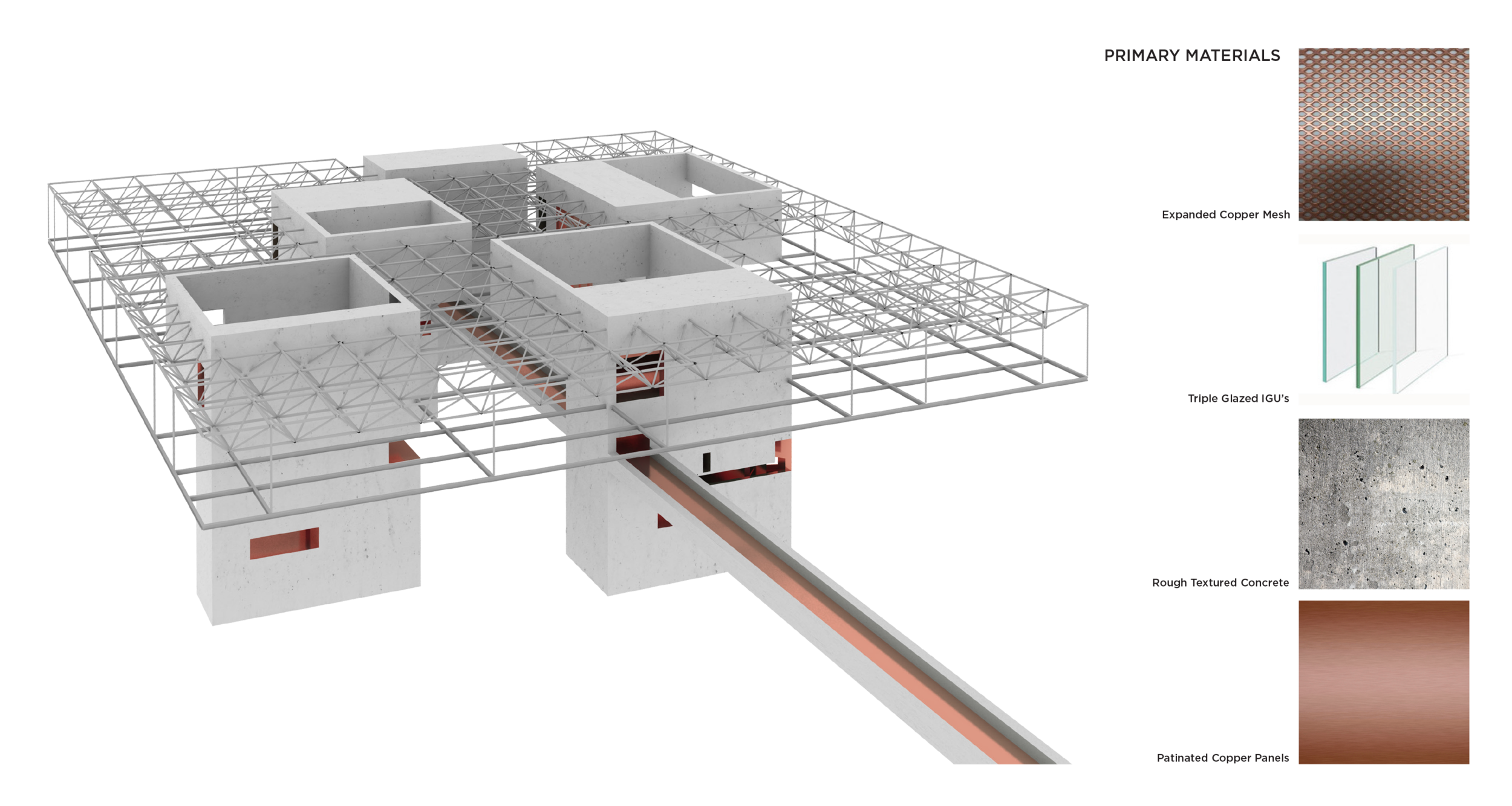 """MATERIALS AND STRUCTURE   The horizontal volume rests on several cast-in-place concrete cores. Due to the proximity to the river and the consolidated load paths, deep foundations in the form of driven piles are envisioned subject to geotechnical investigations. A steel space frame at the roof level provides a light weight superstructure solution accommodating long spans of the horizontal form while providing ample mechanical space. Floor beams and deck are suspended from the space frame with tubular steel hangers. The space frame will expedite erection and provide a cost-effective solution, reducing the weight of the building cantilevers.The project is comprised of four primary materials. A copper metal mesh that gives the building an ethereal effect, triple glazing, concrete, and copper sheets in the """"corespace"""" areas"""