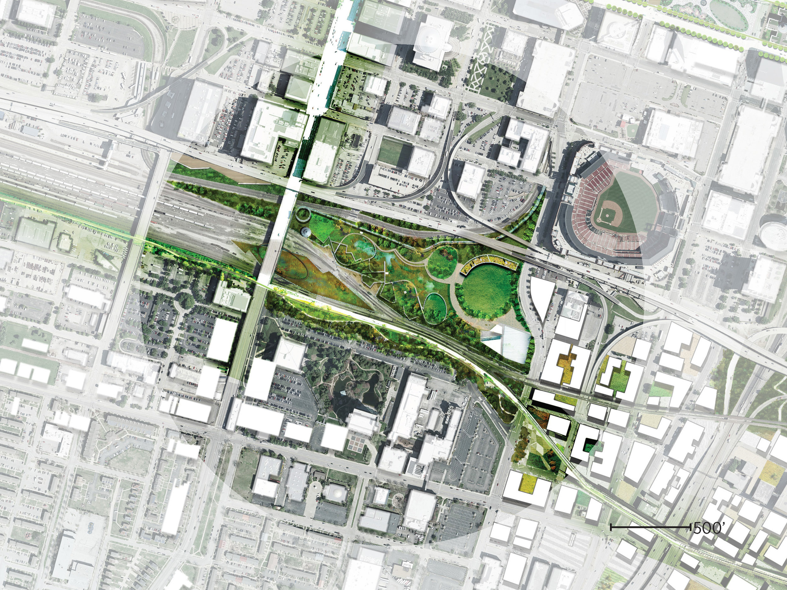 Plan at Wetland Park and stormwater filtration zone