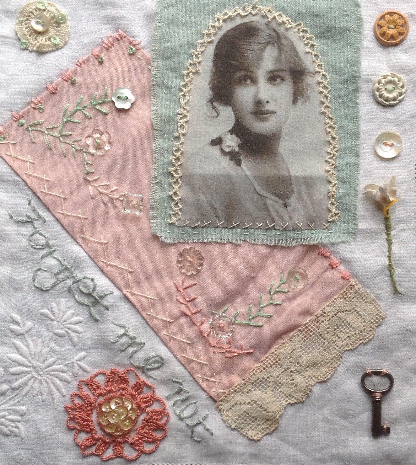 Vintage photographs and embroidery combined