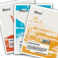 Blue, red and orange leaflets