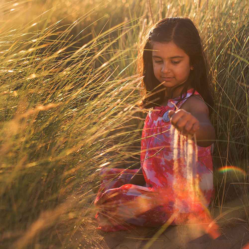 Small girl in golden field