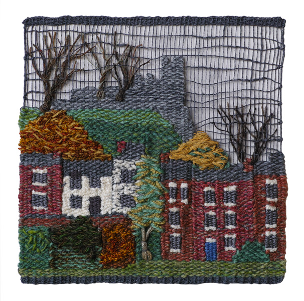 A tapestry town scene