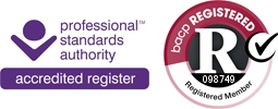 Logos for Professional Standards Authoriy and BACP