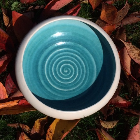Turquoise bowl made by Caroline Chalton-Hellyer