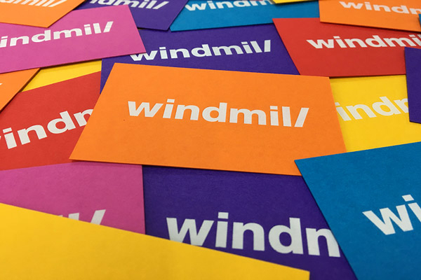 Multi coloured business cards by Windmill Creative