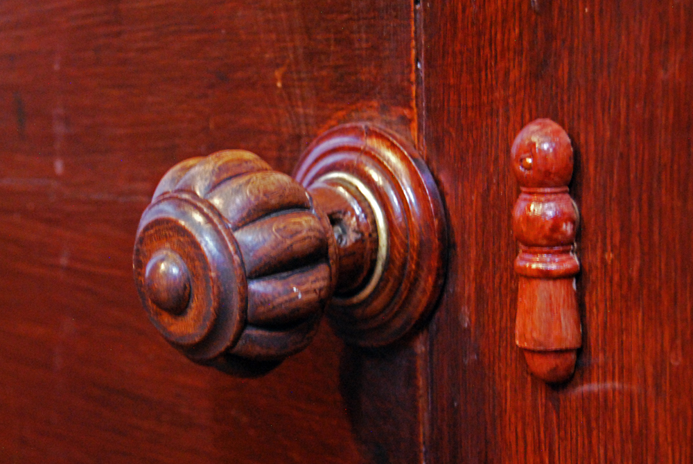 This door handle is in Newstead Abbey, near Nottingham, UK. A former priory until the Dissolution of the Monasteries under king Henry VIII, it eventually became the residence of Lord Byron (George Gordon Byron, 6th Baron Byron), who was, among other things, a leading figure in the Romantic Movement.