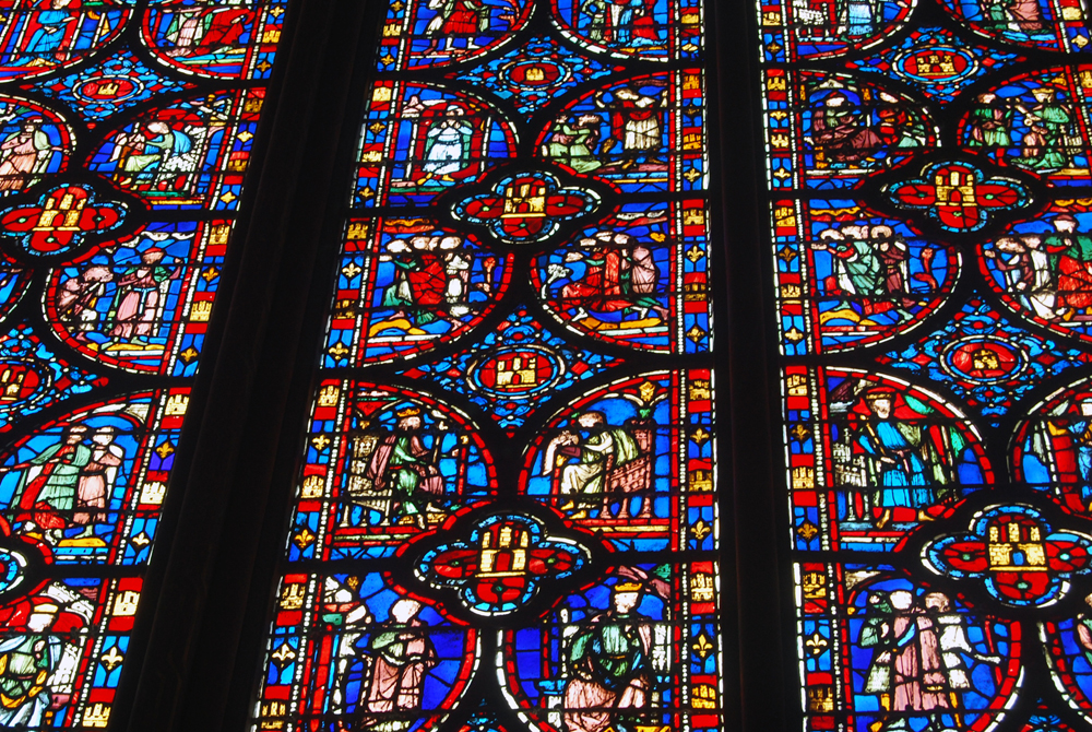 This photo of exquisite stained glass masterpiece is from the Sainte Chapelle in Paris, France. Color, different tonalities – and light – create a surreal and magical show.