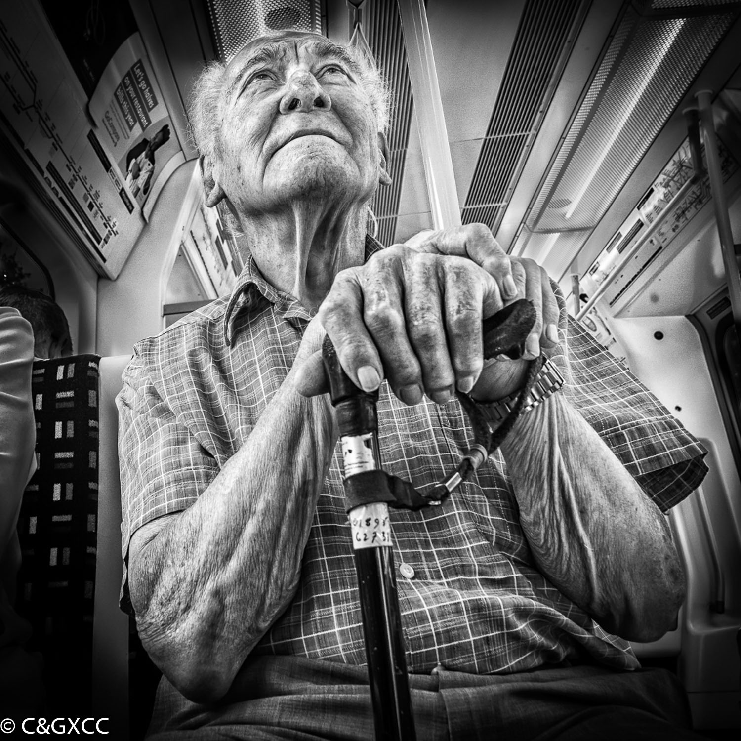 Old Man On The Underground by Barry Webb LRPS  Winner Mono Prints Open