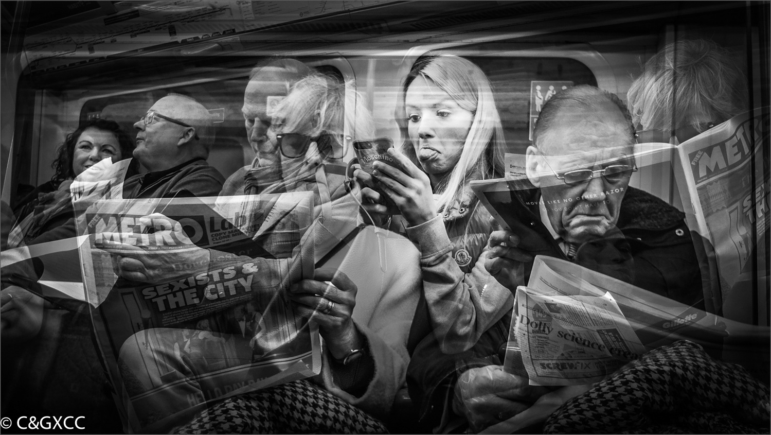 On the Tube by Barry Webb LRPS  Winner Mono PDI Set Subject - Double Exposure