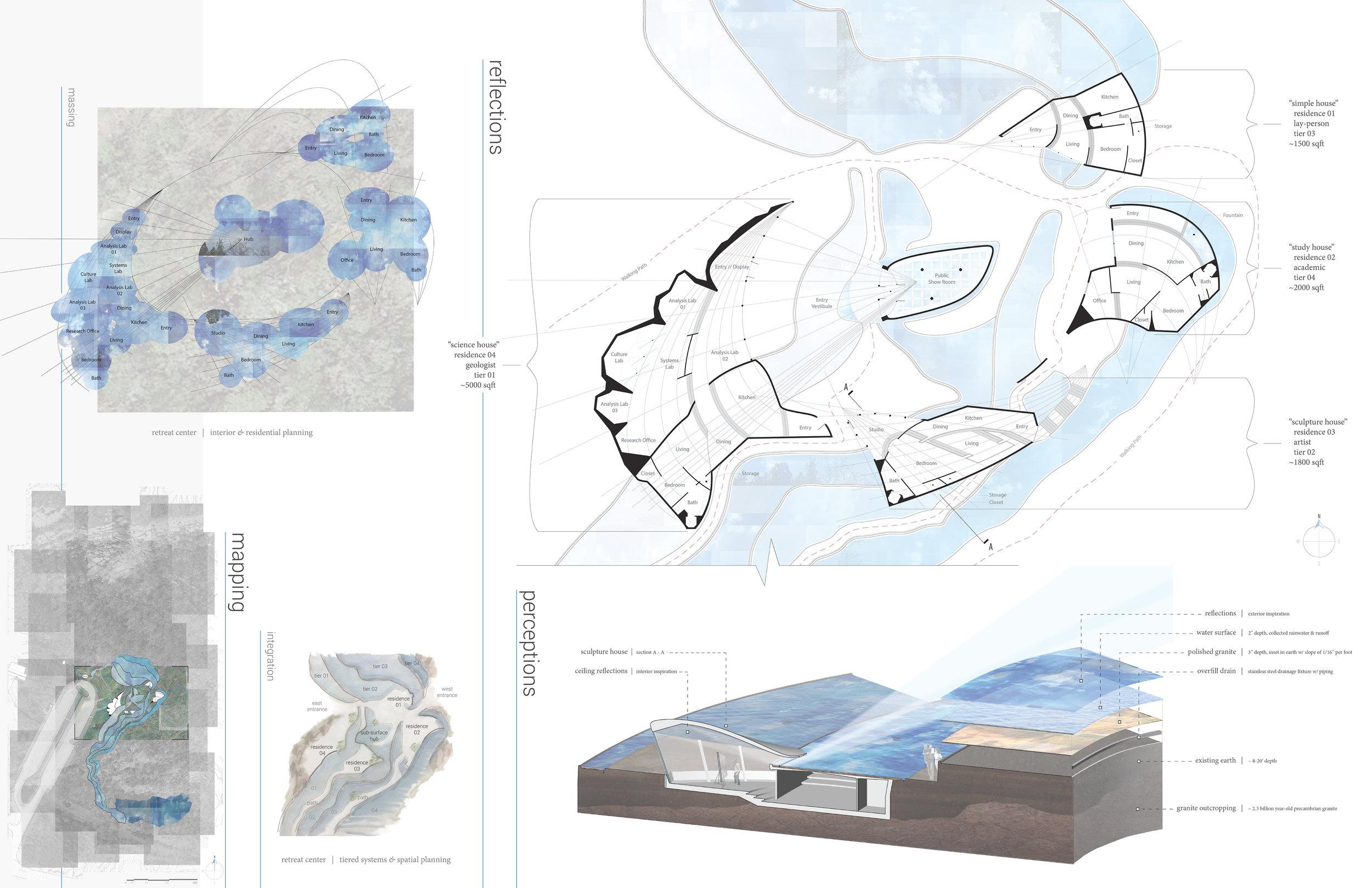 Tiered Reflections - WashU Adv. Studio III - Landscape Architecture - Elephant Rocks State Park, MOcommunal retreat center2016