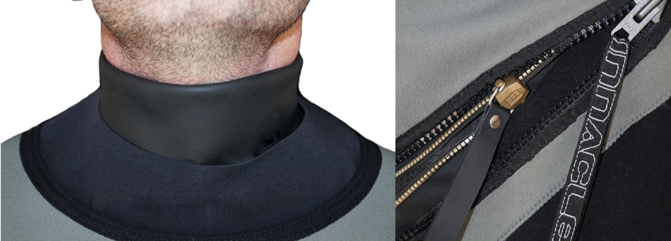 1. Neoprene neck seal for maximum warmth 2.Brass zipper with zippered protection cover.