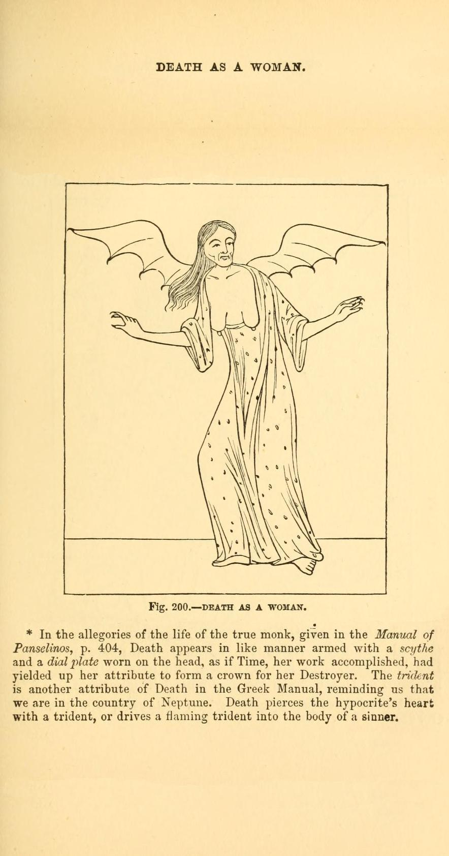 the-two-germanys :    Death as a woman.     Christian Iconography    Adolphe Napoléon Didron London: George Bell & Sons, 1851.