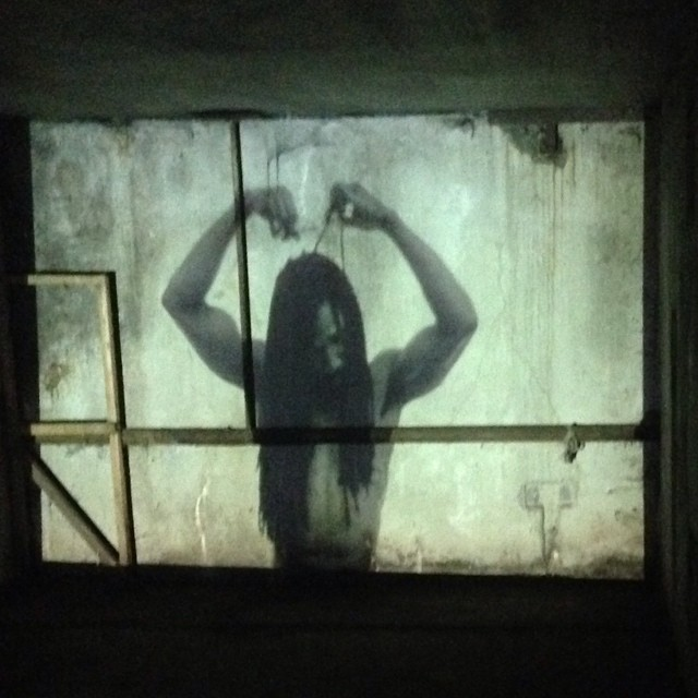 Another still from our #installation at #outlinefestival #film #selfportrait #art #selfie #shortfilm #projection #light #blackandwhite #ruins #moscow #russia #hair #haircut #dreadlocks #skin