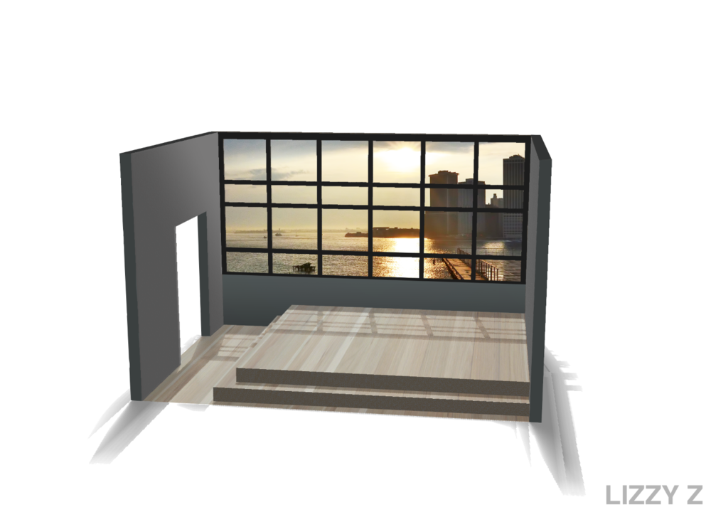 Design and rendering for a simple lofted kitchen platform in Brooklyn Heights