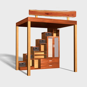 """Our """"Container Store"""" loft which is designed to use the handsome rattan baskets from The Container Store, in the compartments under the staircase. Includes a full closet, storage, drawers, staircase and loft bed. Designed by Liz Zevallos for Zen Carpentry with help from Sander Hicks."""