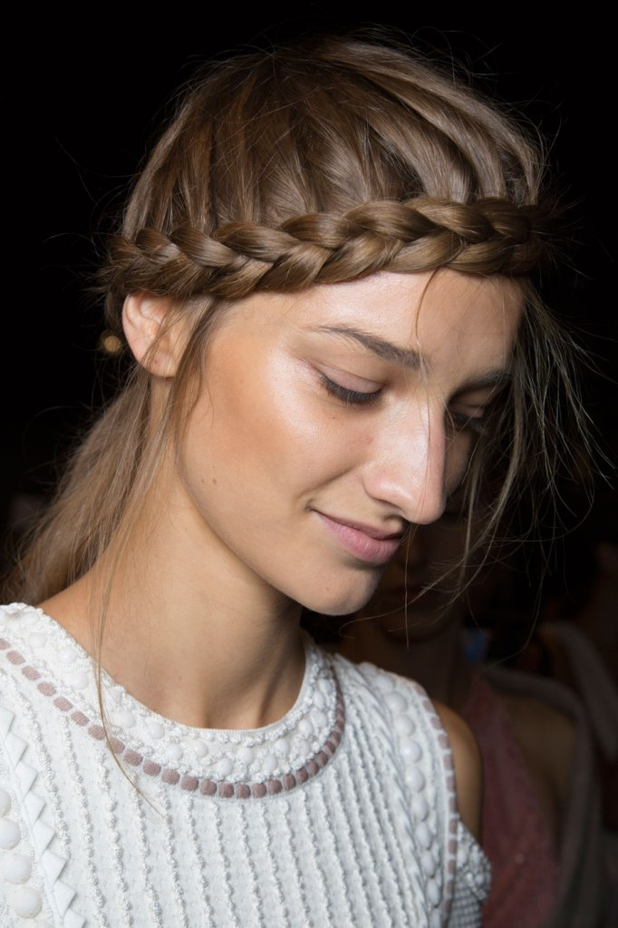 "Braid your fringe area and let loose strands fall in your face for a softer, ""lived in"", appearance."