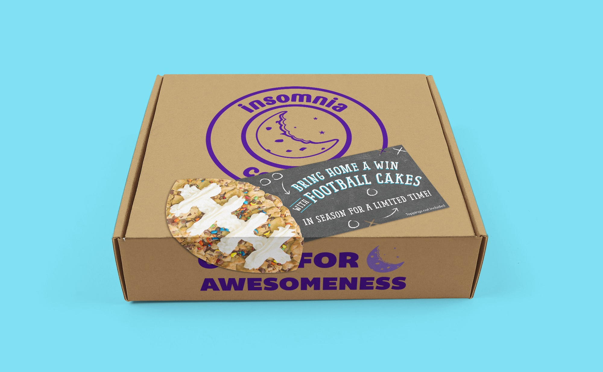 Football Cakes launch promotional box sticker