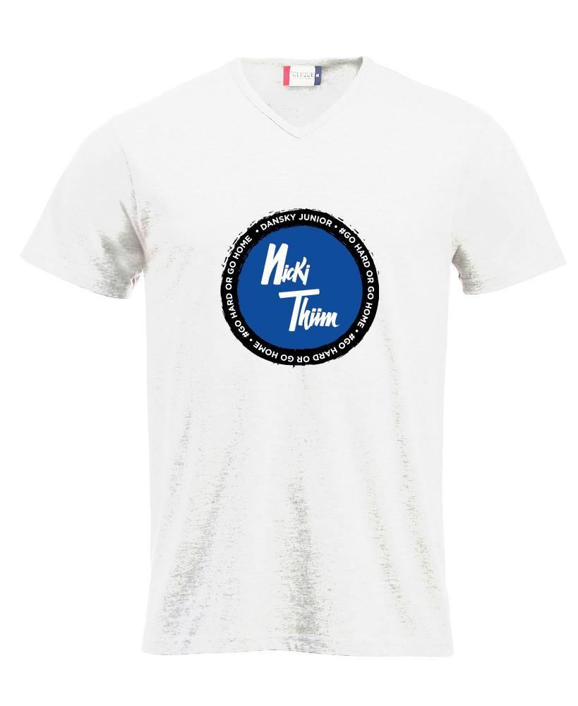 T-Shirt white: Nicki Thiim Logo  / 85% Cotton, 15% Viscose