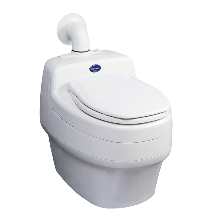 Stylish and easy to clean exterior of the Separett Villa 9000 waterless compost toilet.