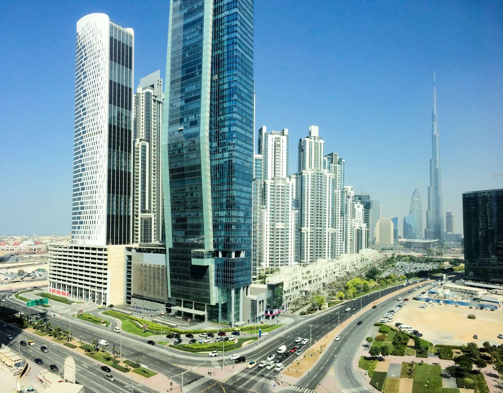 A masterpiece: View of Burj Khalifa and Downtown Dubai from our suite on the 11th floor of The Oberoi.