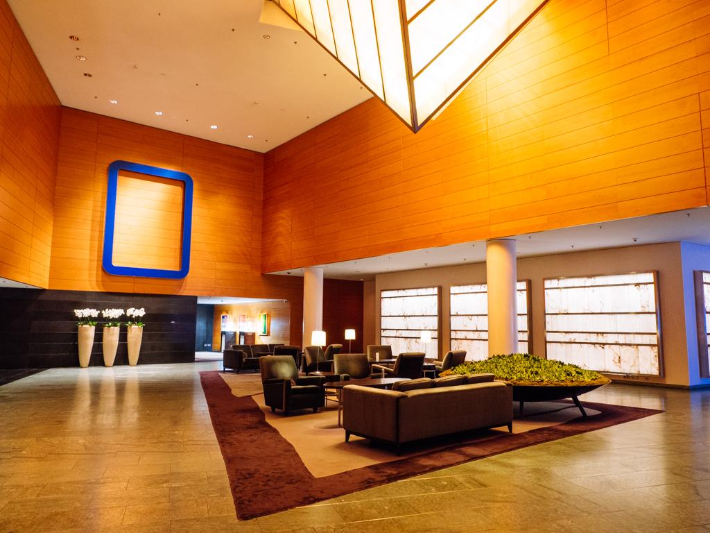 The lobby at the Grand Hyatt Berlin.