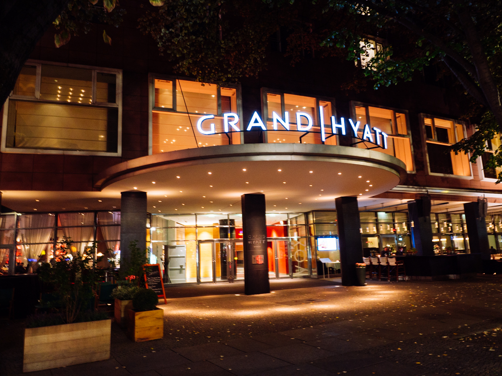Just a 20 minute drive from Tegel Airport, this is one of the two entrances of Grand Hyatt Berlin.
