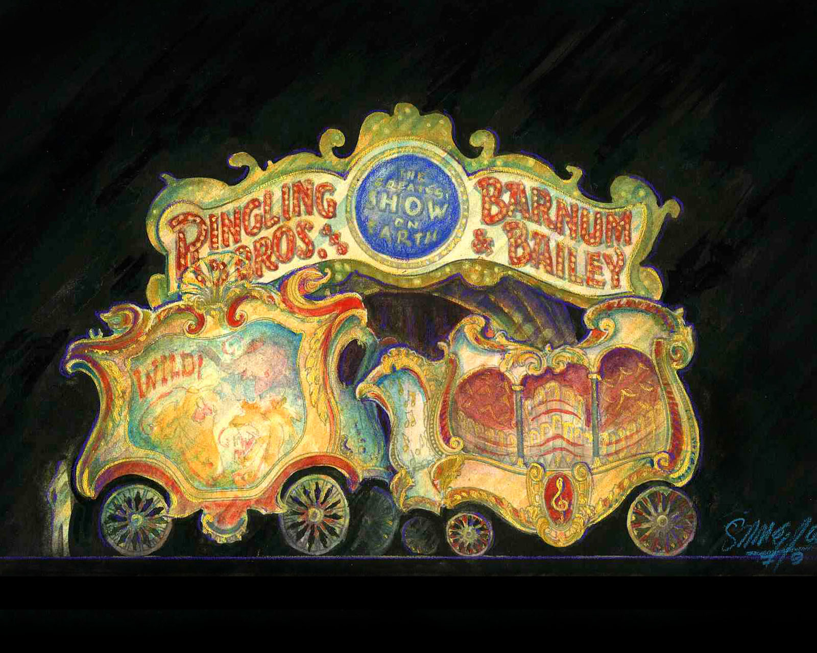 Circus Wagon Portal Preset and Opening Position Color Renderings