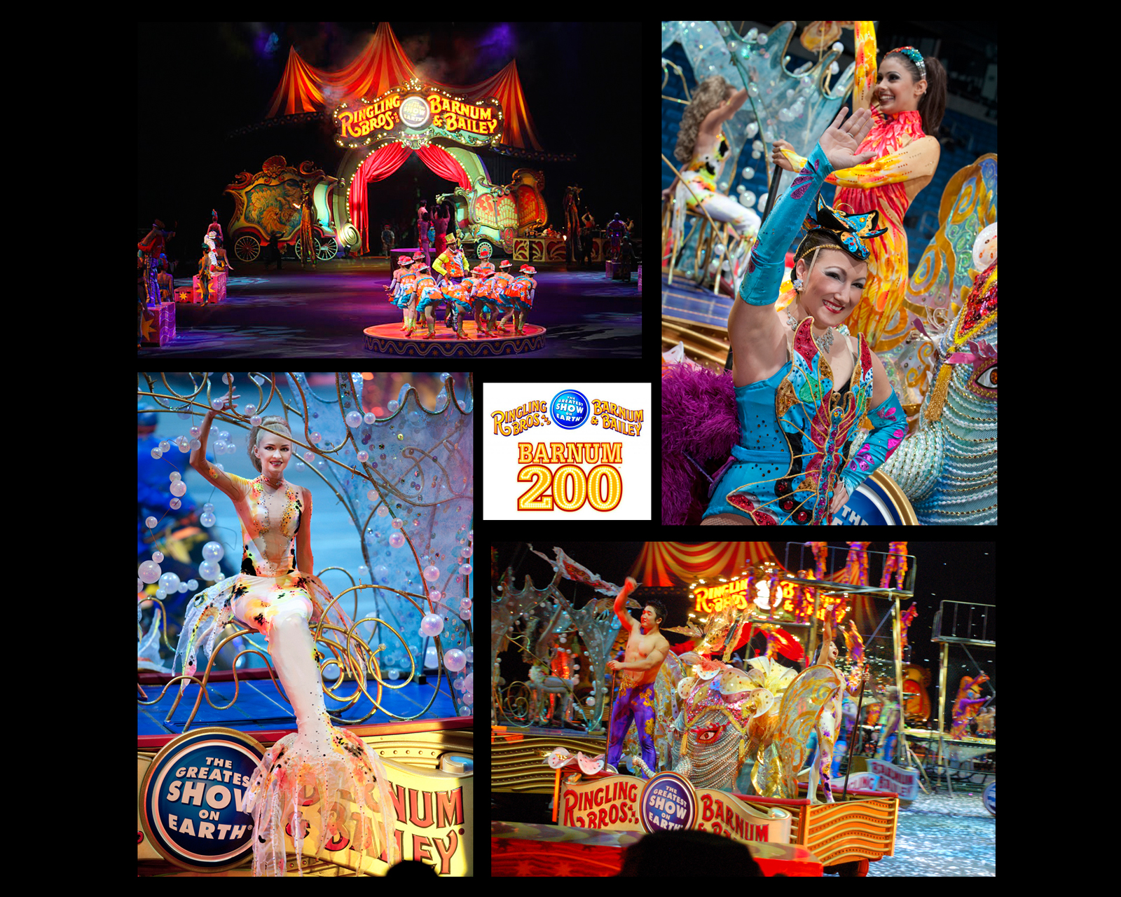 Photo collage of various props, floats and sets.