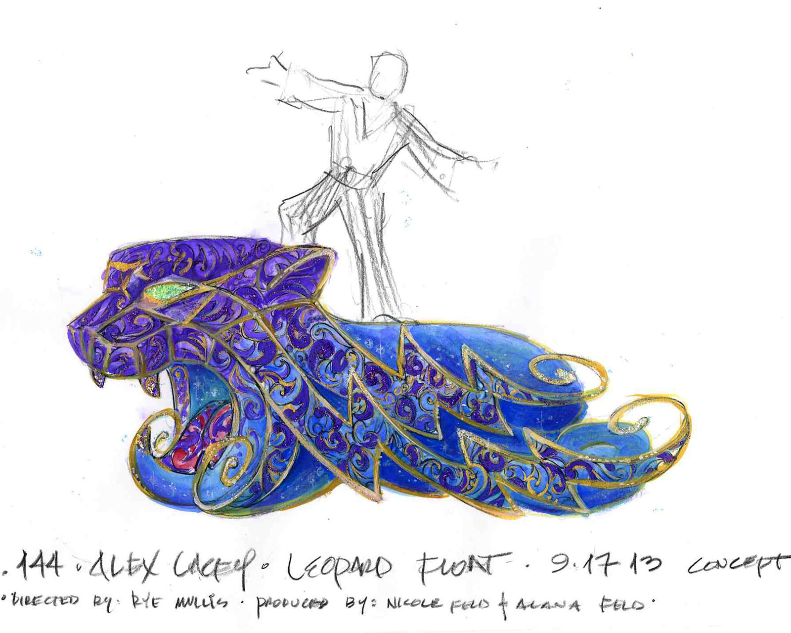 Alex Lacey Blue Leopard float Color Illustration.
