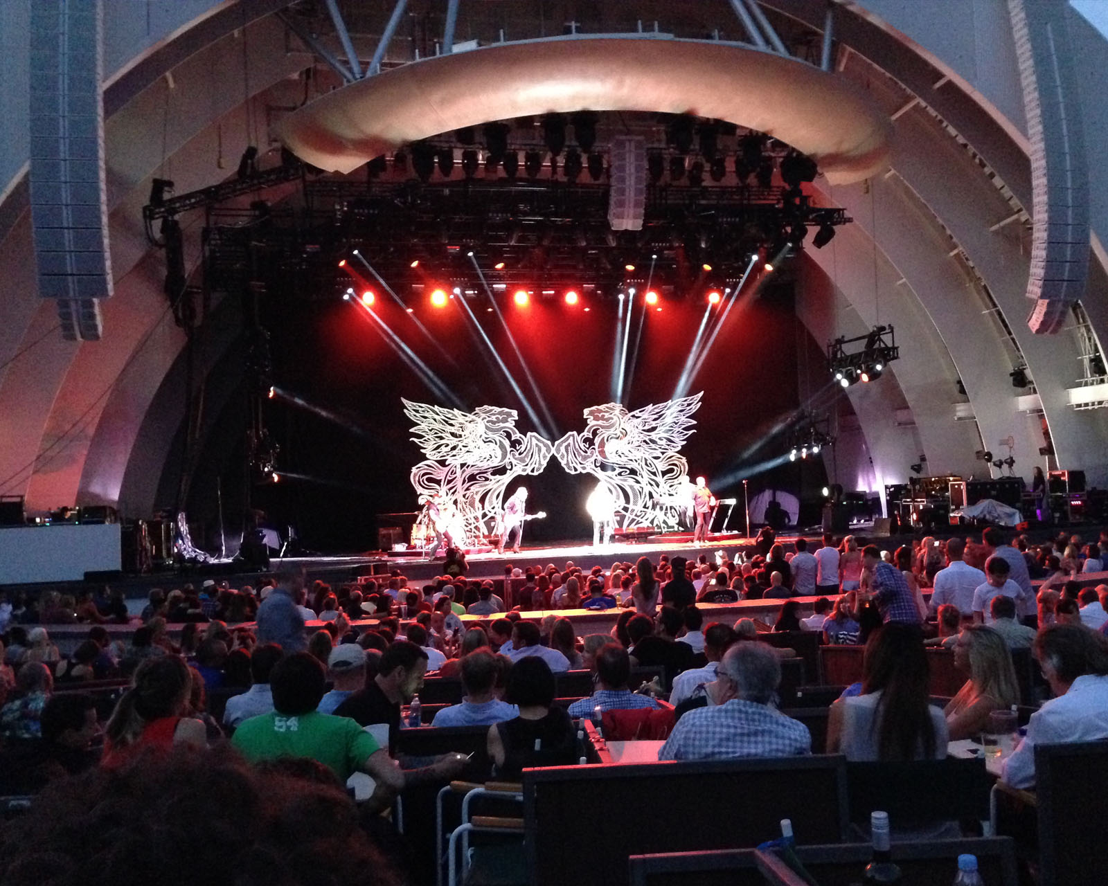 Pegasus sculptures were designed to be able to play in the daylight and help give focus to the band in huge concert venues such as the Hollywood Bowl seen in this image.