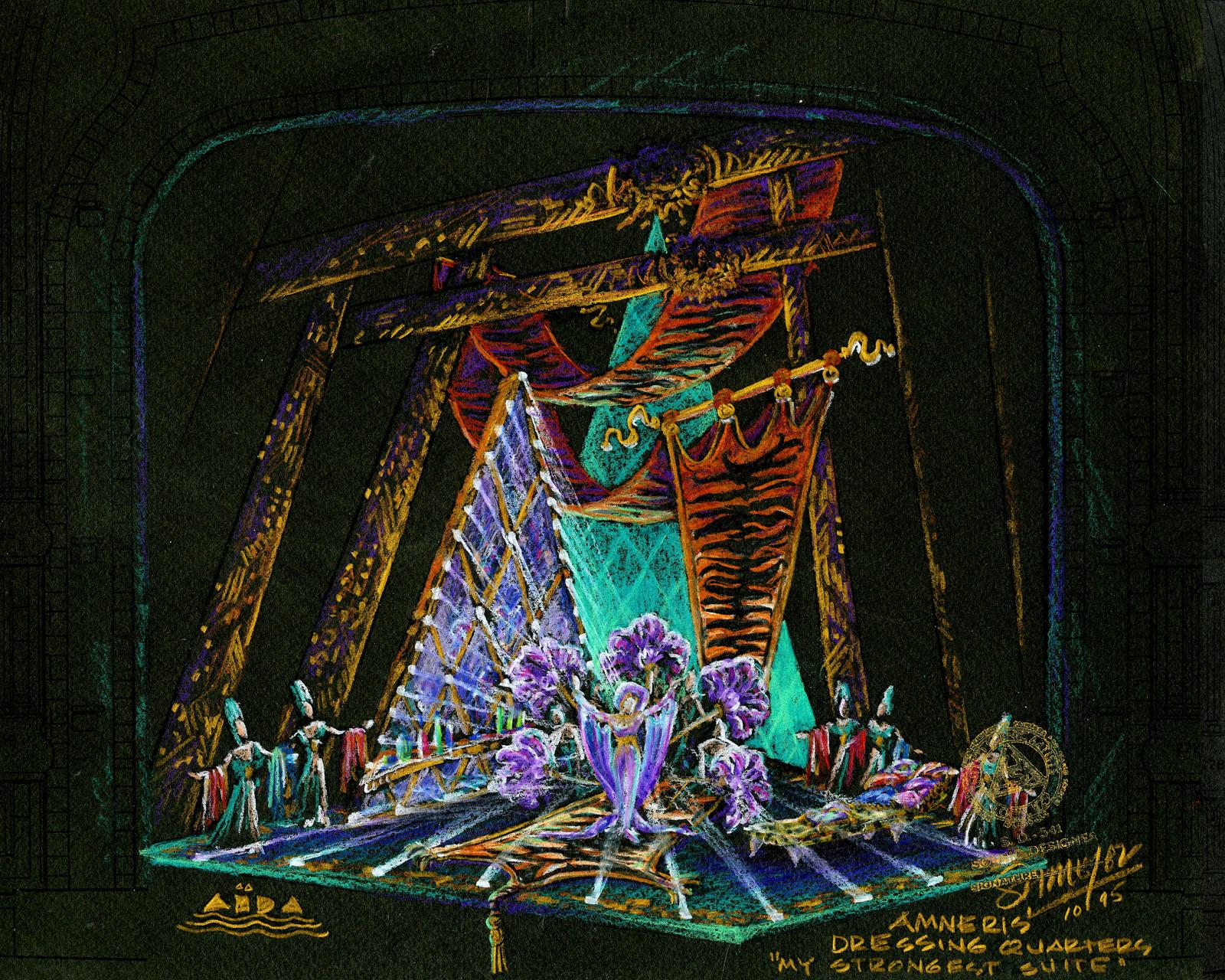Amneris' Quarters,Original Broadway Color Concept Rendering,New Amsterdam Theatre