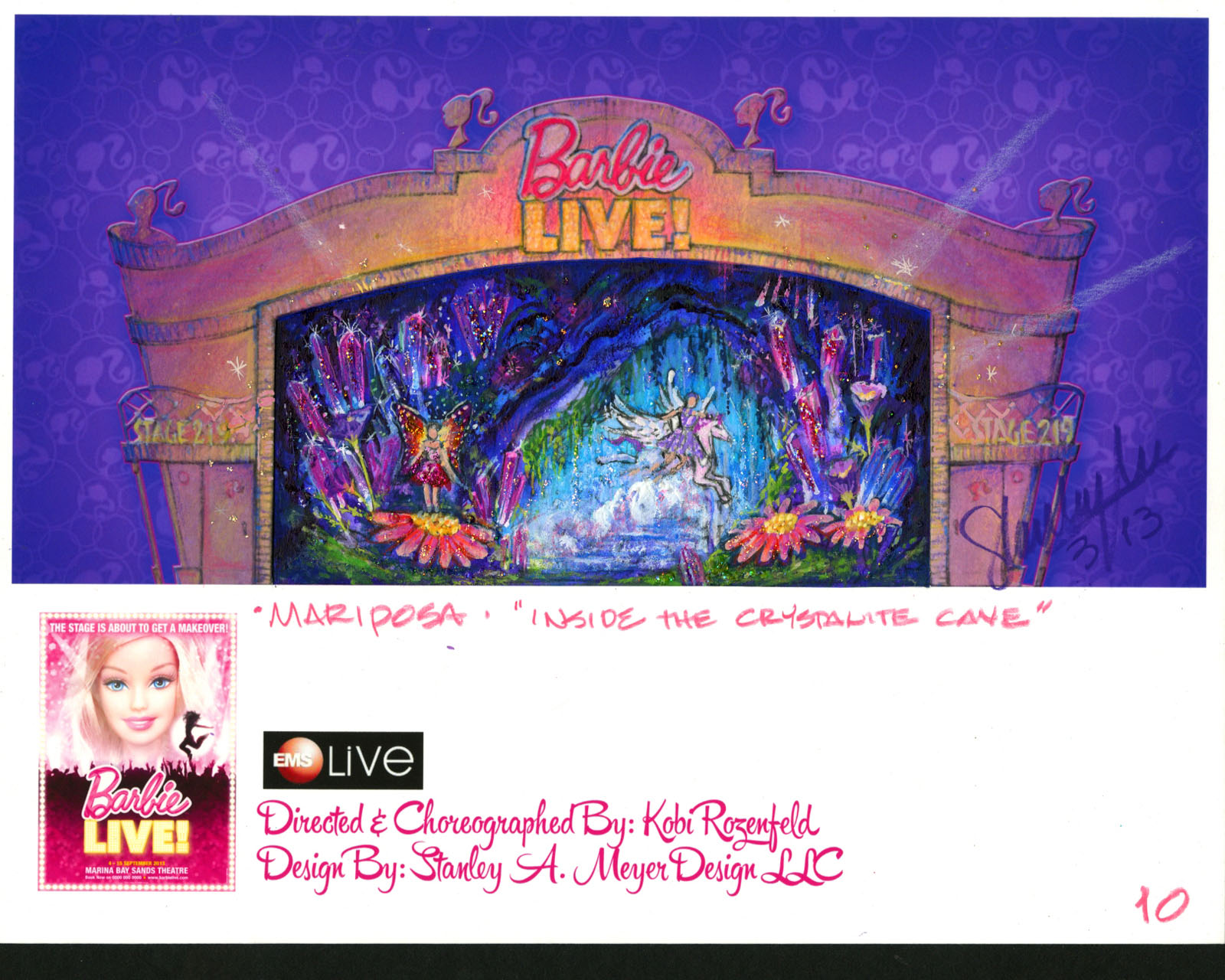 """Color Concept Rendering showing Barbie Mariposa Flash back Scene """"Inside the Crystallite Cave"""""""