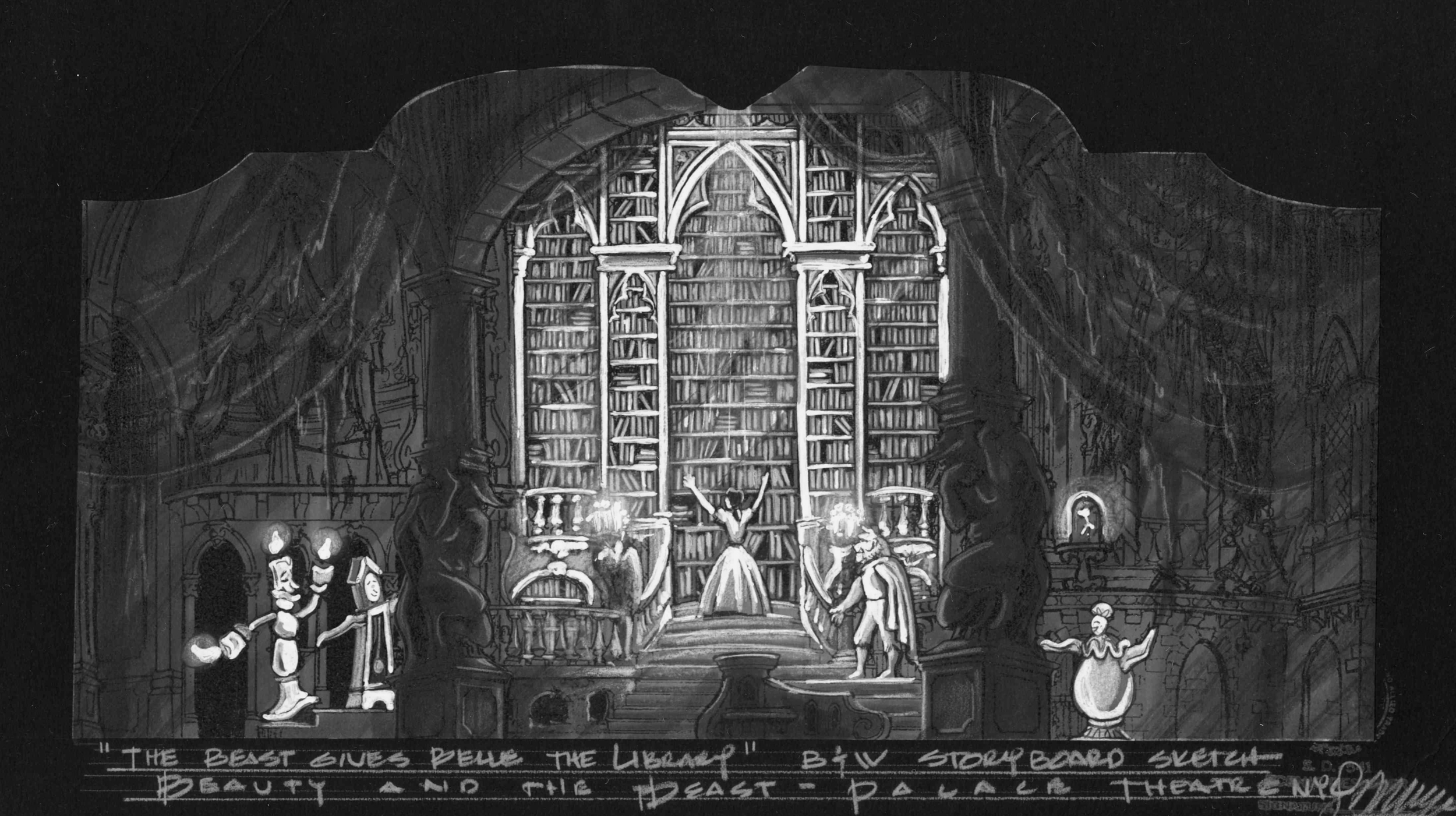 Library Scene.B&W Concept Rendering.Palace Theatre NYC