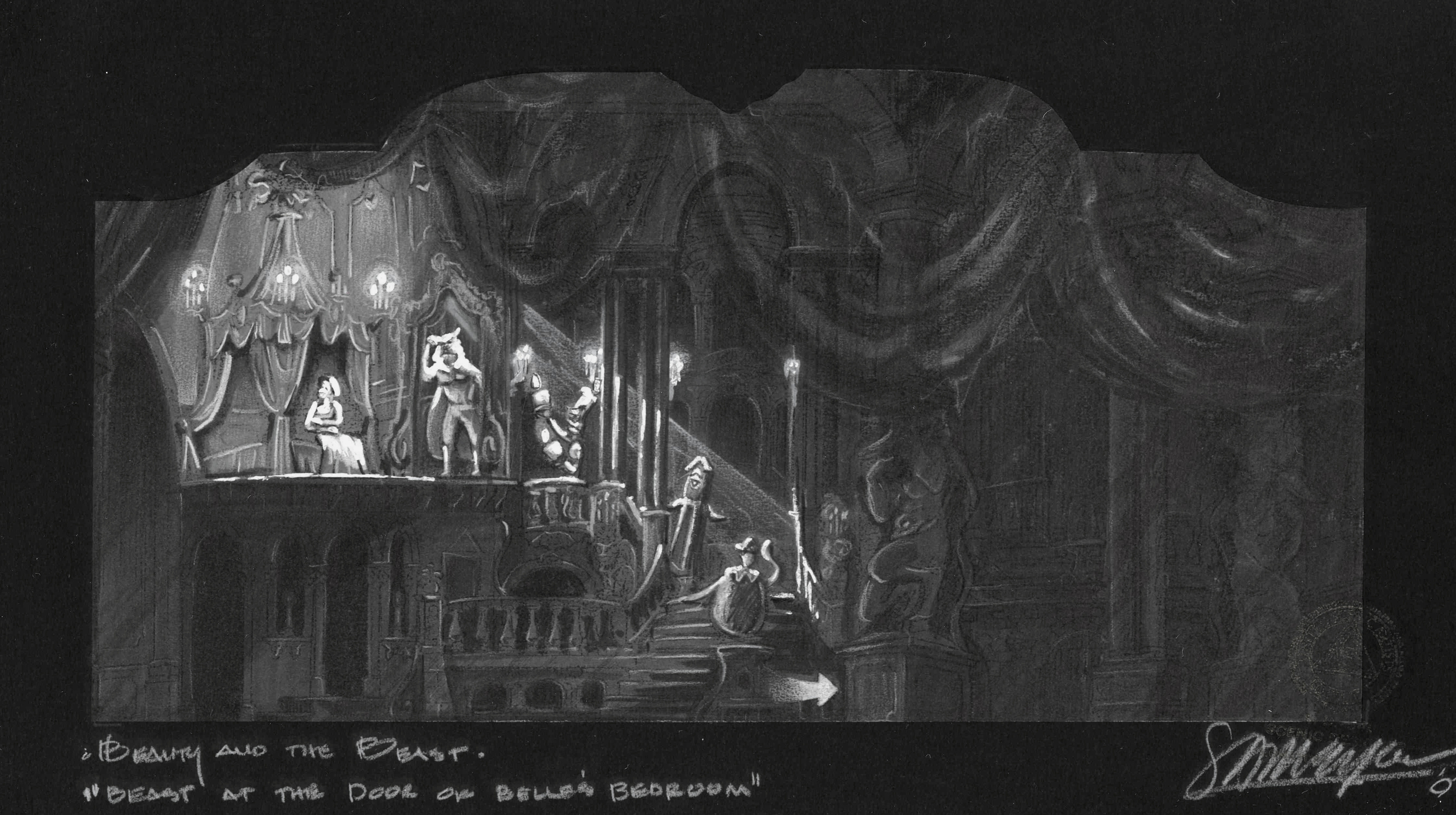 Belle's Bedroom. B&W concept rendering. Palace Theatre NYC