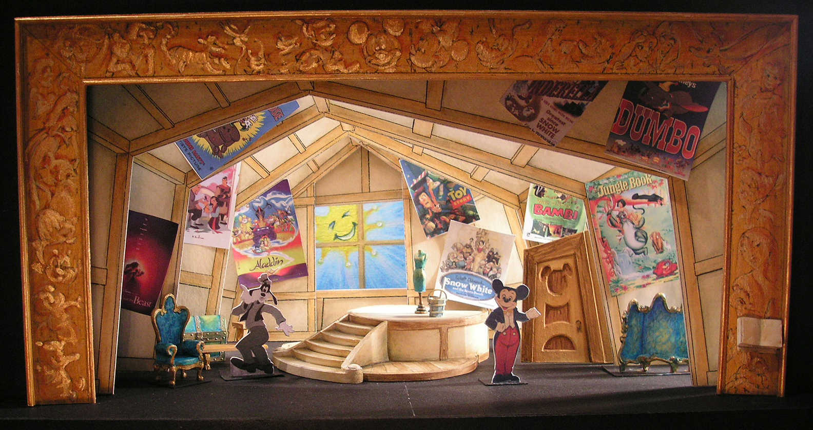 "Selected 1/4""=1' Color Scale Model. Model by Rachel Short Janacko. ""Mickey's Attic"""