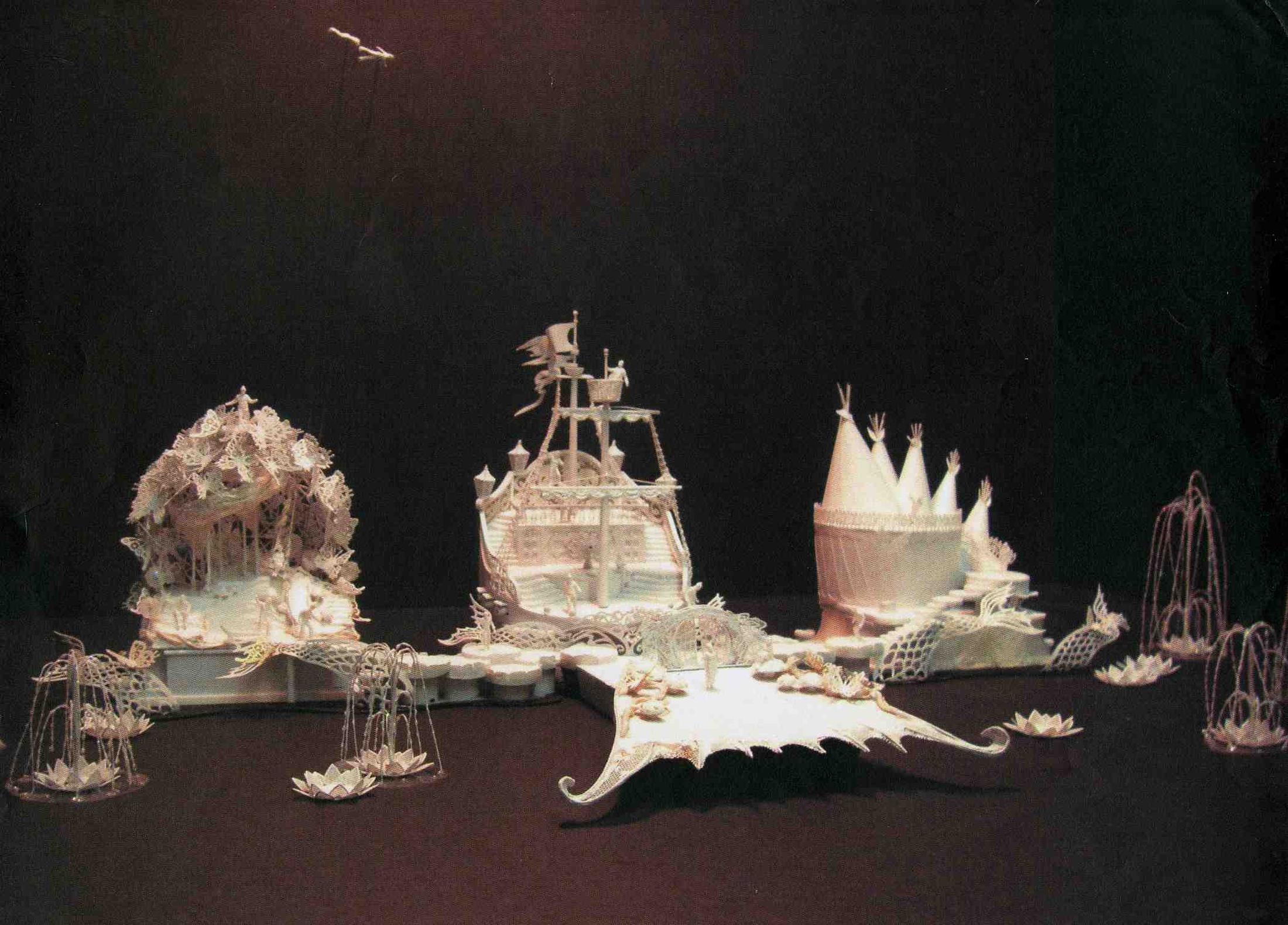 White Model in 1/100ths scale of the Scenic Elements.Model by Rachel Short-Janacko