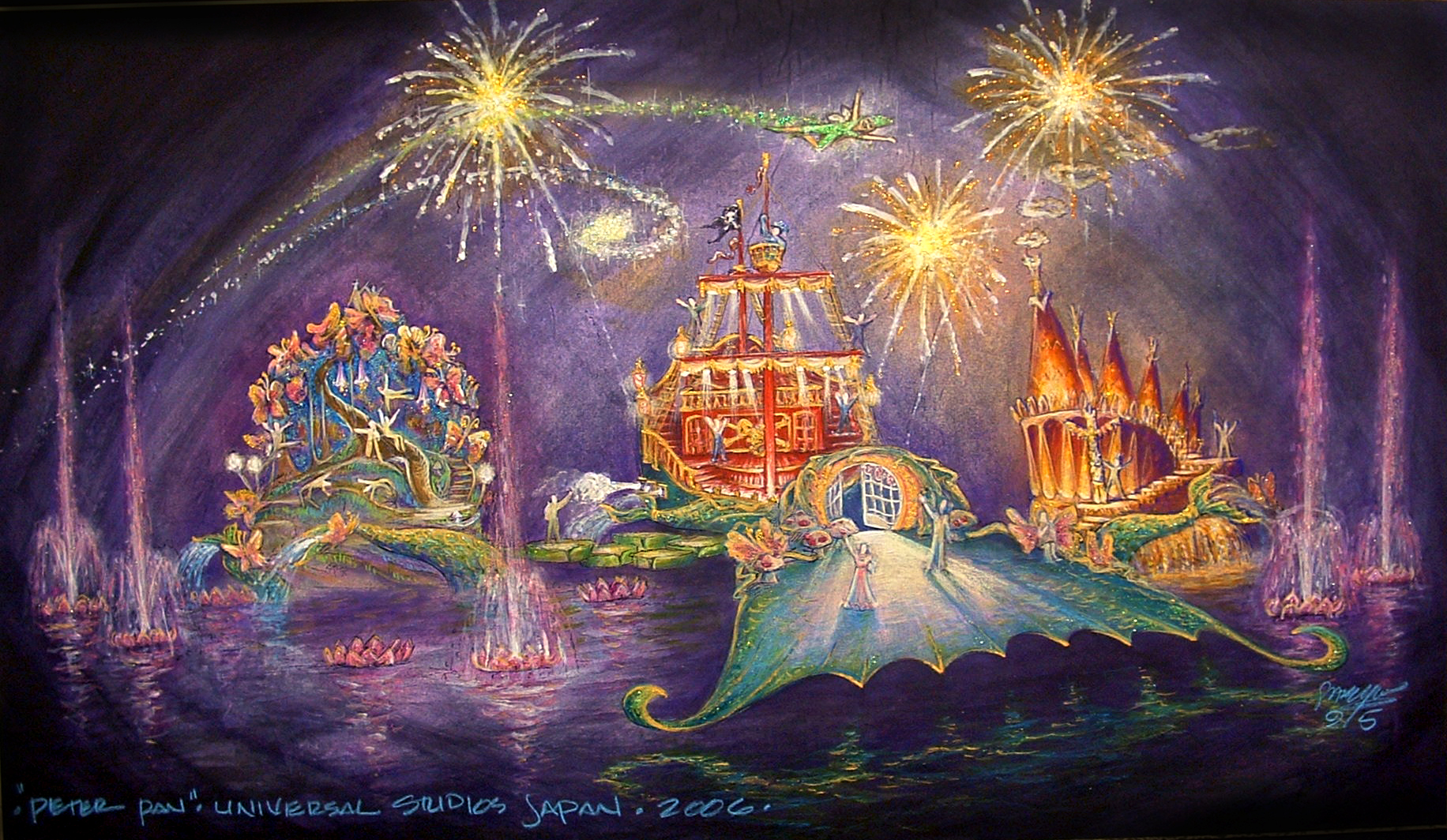 Color Key Art Rendering showing the Set on the Mermaid Lagoon for Peter Pan's Neverland. Rendering by Stanley A. Meyer