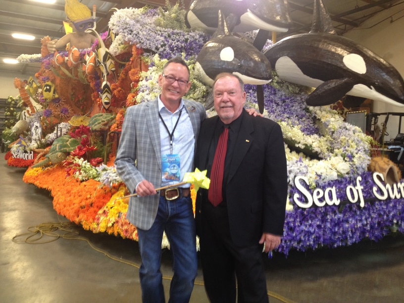 Stanley A. Meyer & Jim Hynd in front of the float the day of the judging.